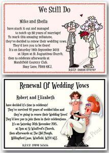 Personalised Renewal Of Wedding Vows Funny Invitations X10 J150 Ebay