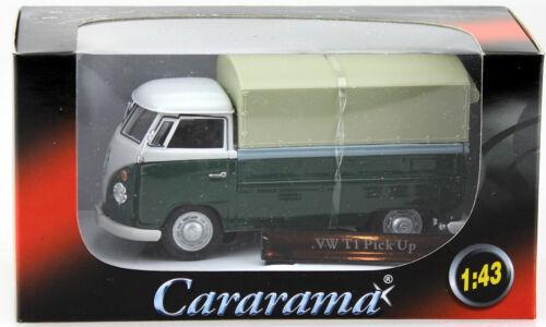VW t1 PIANALE CON TELO VERDE-BIANCO 1:43 Cararama Modello di auto