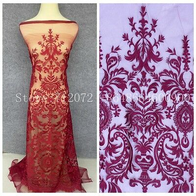 Fashion show high quality on net embroidered off White/black lace fabric by yard