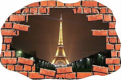Broken Brick Crack Eiffell Tower Paris Wall Sticker Poster Vinyl GA32-252