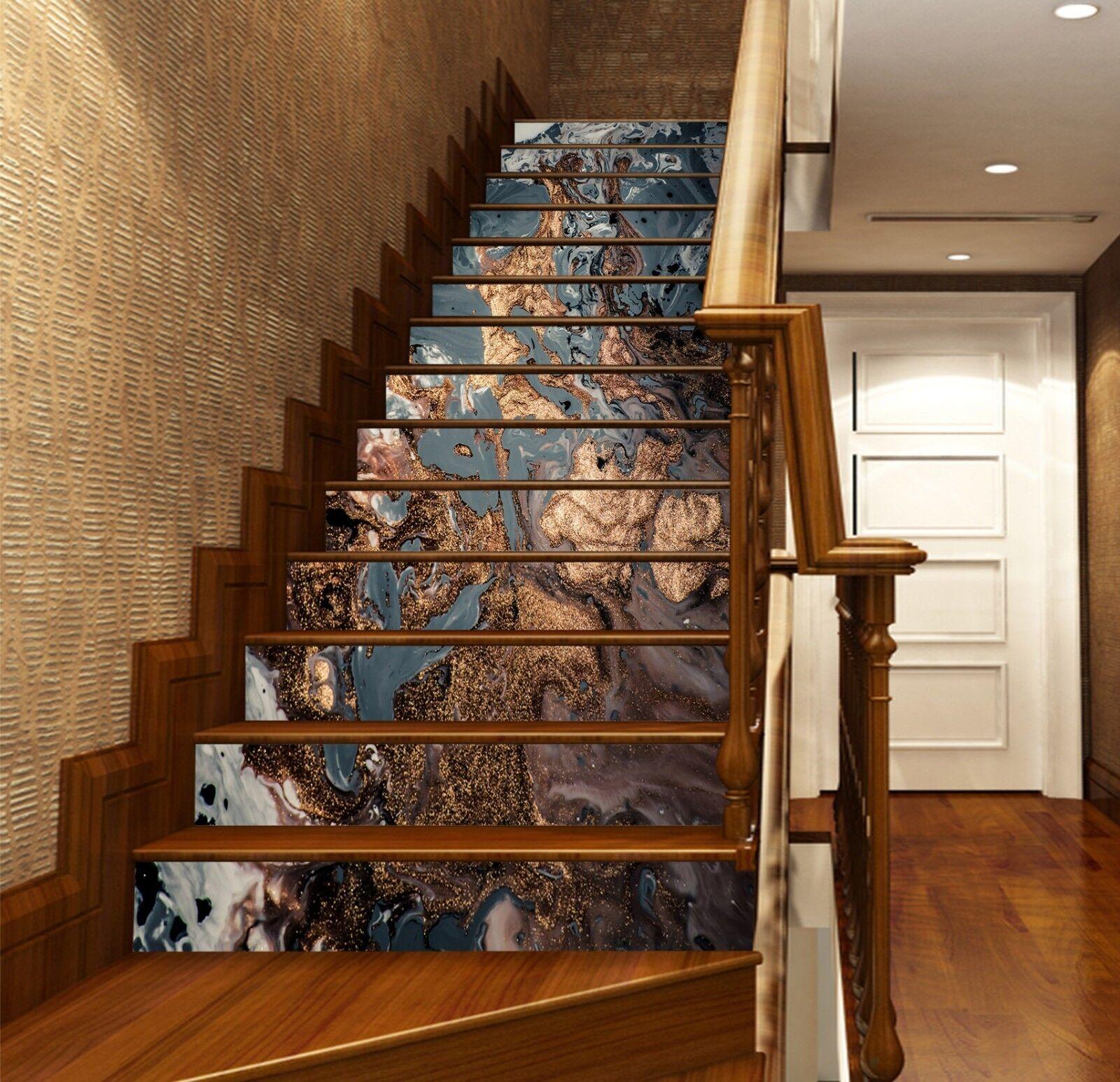 Or 3D Noir Texture 3 Carrelage Marbre escalier contremarche Décoration Murale Vinyle Papier Peint