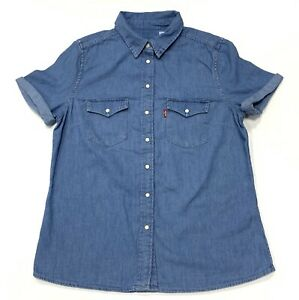 Levi-039-s-Damen-Baumwolle-Kurzarm-Western-Denim-Shirt-in-hellblau-Groesse-S