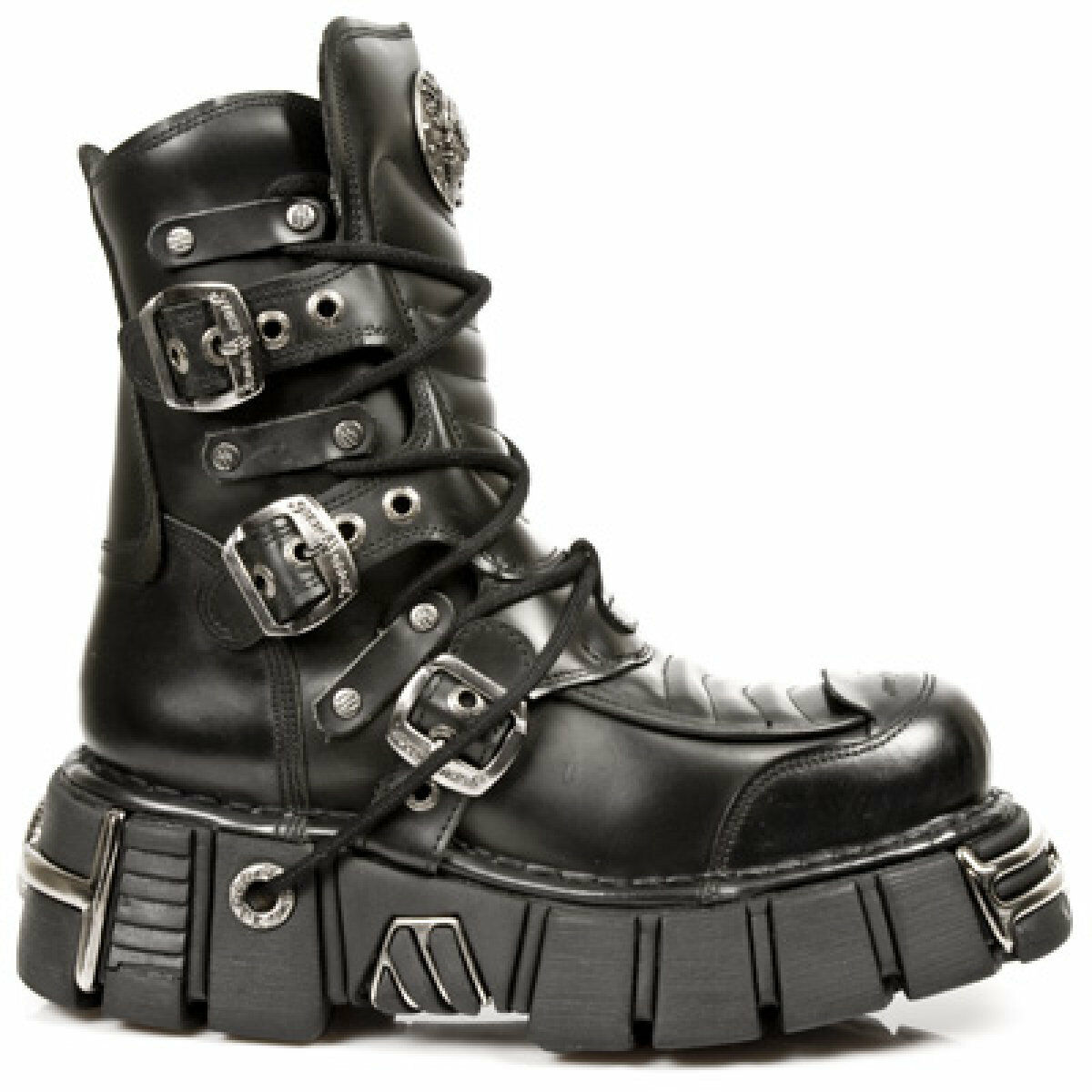 New Rock Boots M.987-S1 Zwarte Laarzen Leer - Goth, Punk, Gothic Metal Maat 45