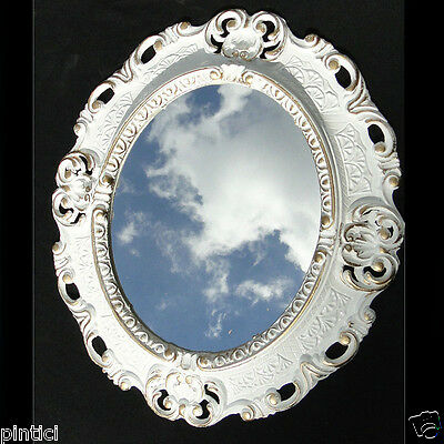Begeistert Wandspiegel Spiegel Oval Barock Antik Weiß- Gold 45x38 Oval Badspiegel GüNstige VerkäUfe