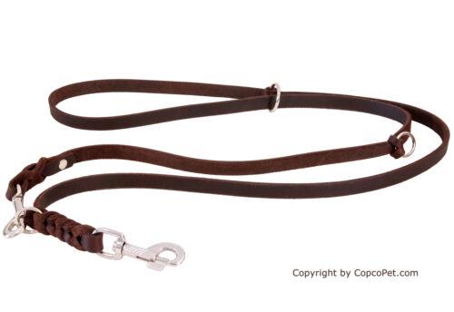 CopcoPet Fettlederleine Hundeleine geflochten dreifach verstellbar verchromt