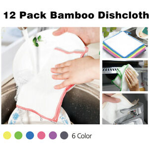 12-Pack-Bamboo-Kitchen-Dish-Cloth-Kitchen-Towel-Dishcloths-Washing-Cleaning-Rags