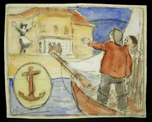 Capable Strasbourg Retour De Pêche Pêcheurs Alsacienne Dessin Original Signé Vers 1900 RéSistance Au Froissement