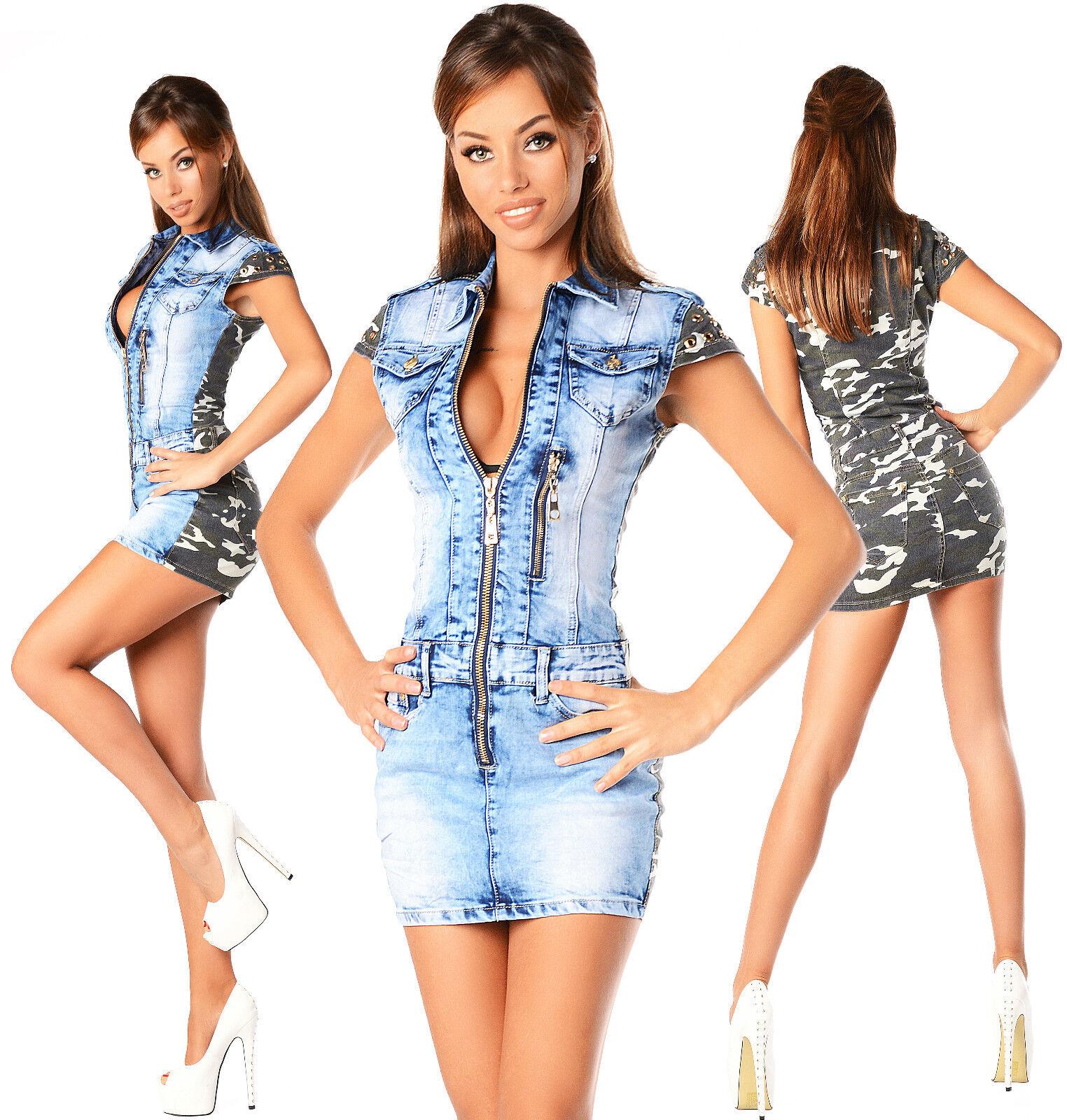 Sexy Neu DaMänner Denim Armee Jeanshose Minikleid Doppel Look G 864