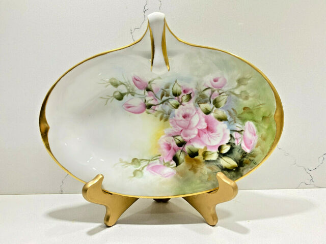 La Seynie Limoges P and P France Hand-Painted Plate Floral Artist Signed