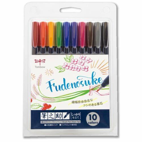 NEW Tombow Gel Ink Marker Pen Fudenosuke Hard Type 10 Color SET WS-BH10C Japan