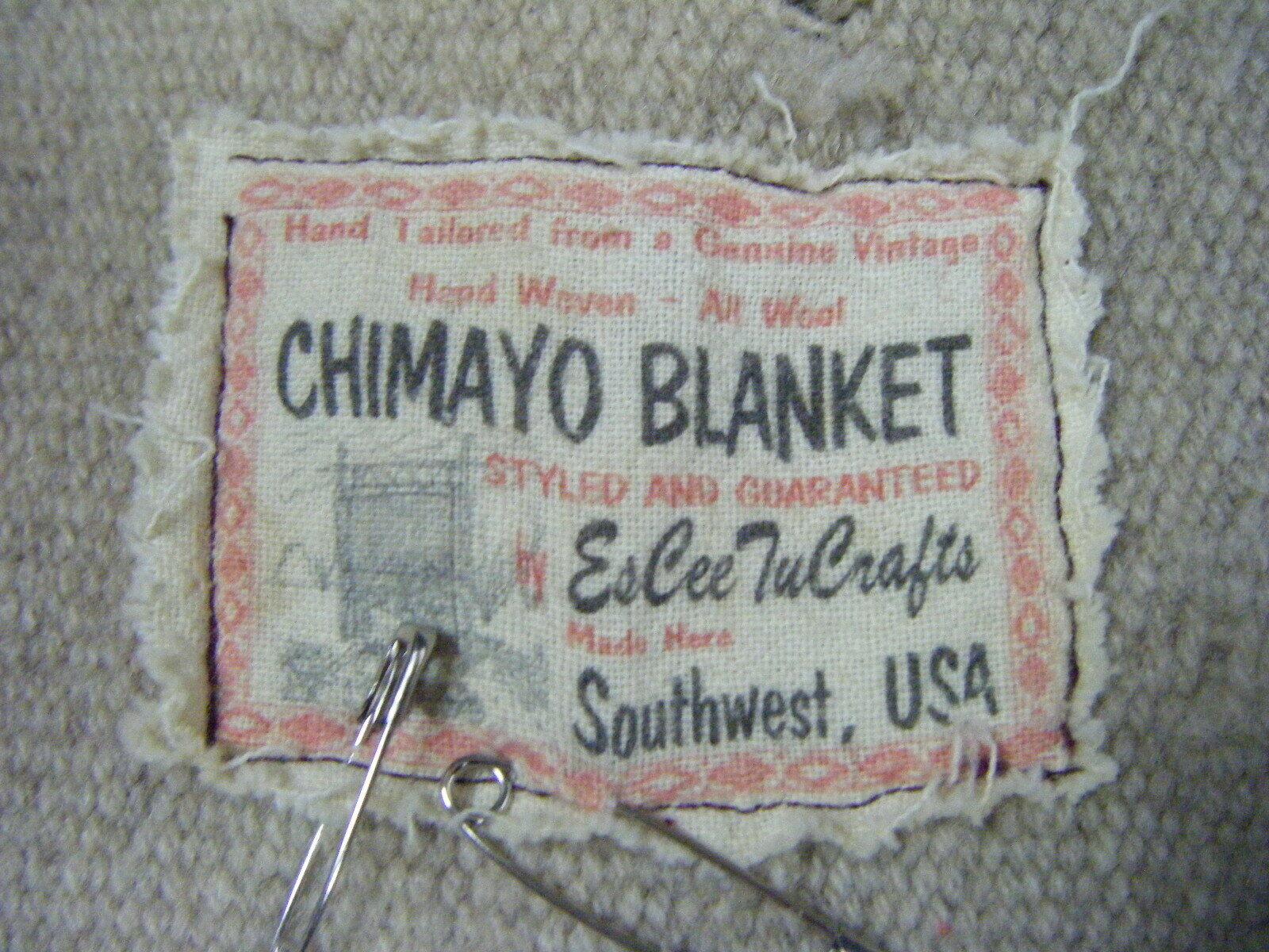 Vintage Chimayo Blanket Men Olive Green/Taupe Jac… - image 6