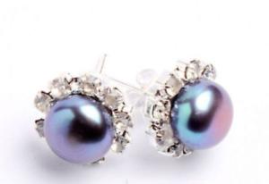 7-8mm Pretty Natural Freshwater Pearl Silver Crystal Earrings 1 Pair