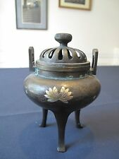 Beautiful Late Meiji Japanese Bronze Incense Burner with Gold & Silver Inlay