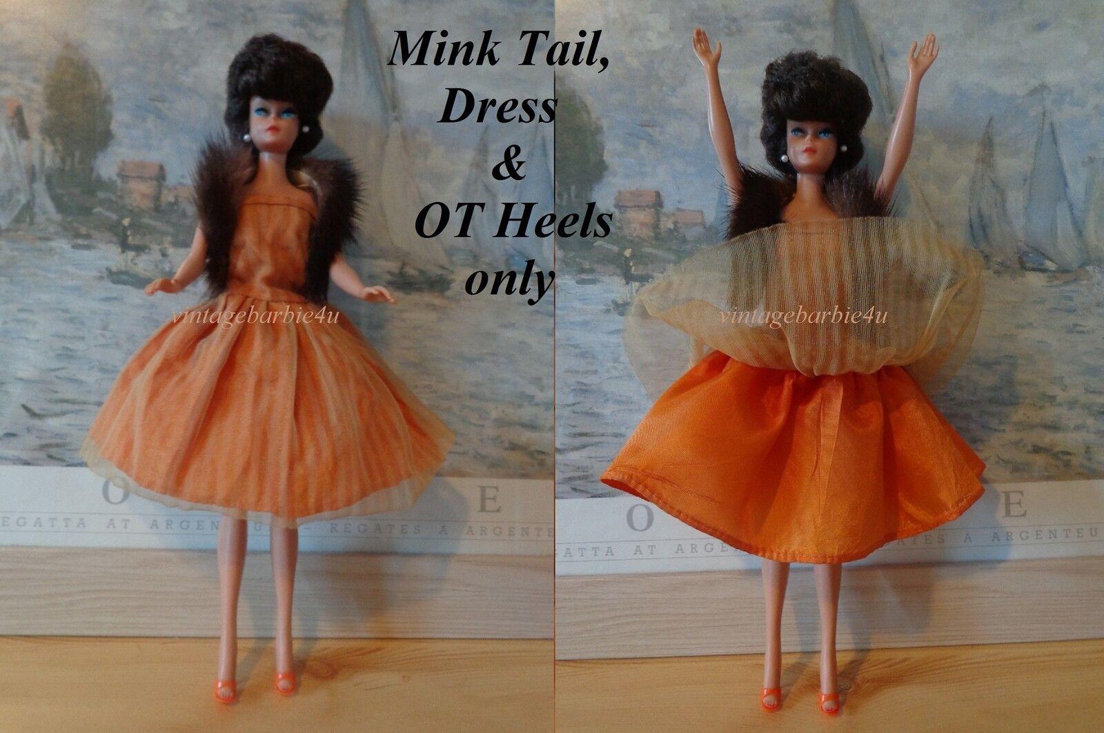 Muñeca Vintage Uneeda Suzette Original oro Vestido y visón Cola Barbie Babs Tamaño
