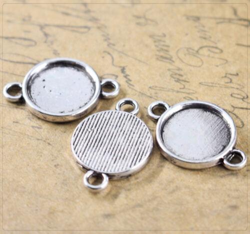 4x Rohlinge Verbinder Fassungen für Cabochons Schmuck Basteln 13mm silber jt123