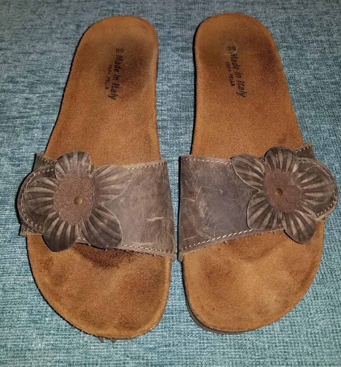 VERA PELLE Brown Leather Slides Sandals w/ Euro Flower Design Cork Wedge Euro w/ Sz 38 01e2fb