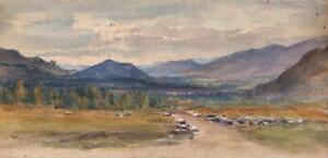 MOUNTAIN-LANDSCAPE-Victorian-Watercolour-Painting-c1890