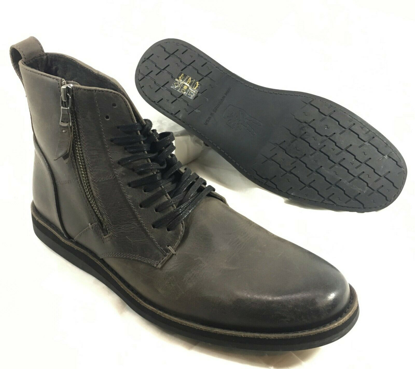 NEW John Varvatos Brown leather Tire Tread Ankle Boots Lace up & Zip Sz 10.5