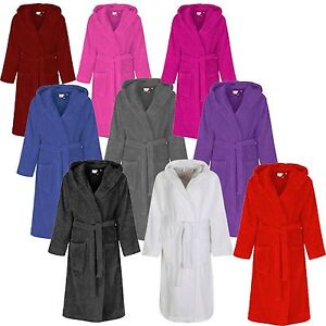 f5af7f7388 Ladies Mens Womens 100% Cotton Hooded Terry Towelling Dressing Gown ...