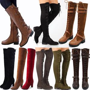 8d8fb8e572dce2 Das Bild wird geladen Damen-Stiefeletten-Overknee-Langschaft-Stiefel -Pumps-Boots-Schnueren-