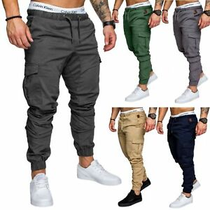 Mens Cuffed Chinos Jeans Denim Trousers Joggers Combat Military Pants Size M-3XL