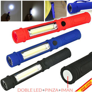LINTERNA-2-LED-LUZ-DE-TRABAJO-LAMPARA-IMAN-MAGNETICA-ANTORCHA-CAMPING-TALLER-COB