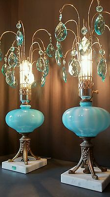 Antique/VTG Mid Century Aqua/Ocean Blue Crystal Pendant Fountain Lamps/Light