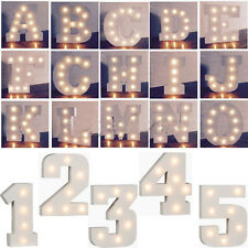 A - Z WOODEN ALPHABET LETTER LED LIGHT UP WHITE LETTERS STANDING 0-9 NUMBERS NEW