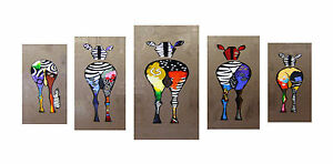 Image Is Loading Funny Zebra  S Bottoms Up Painting Modern