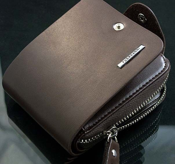 Men's Leather Bifold ID Card Holder Billfold Zip Purse Wallet Handbag Clutch