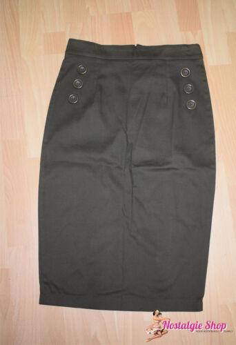 Pencil Skirt matita gonna verde oliva Military 50s aderente Collectif sale