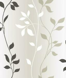 Wallpaper-Modern-Leaves-Leaf-Vine-Stripe-Black-White-on-Pearl-Background