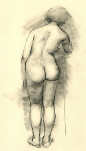 Peter Collins ARCA - Contemporary Charcoal Drawing, Standing Nude
