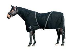 CATAGO-Fleecedecke-mit-Halsteil-schwarz-Abschwitzdecke-Pferdedecke-Decke