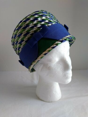 Vintage Lilly Dache Ribbon Straw Woven Women's Hat