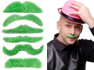 6 Bärte Set Schnauzbärte Bart grün Irland Irish Wassergeist Leprechaun MM-005