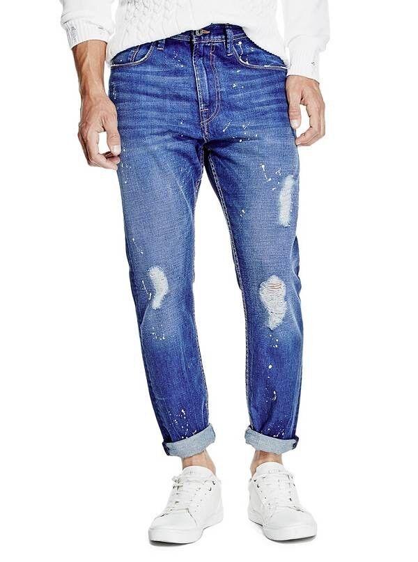 Guess Para hombres relajado Cónico  Crop de súperdry en azul opulento lavar con destruir Talla 32  Tienda 2018