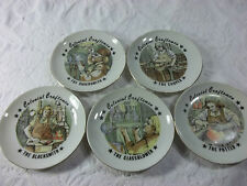 Set of Five Colonial Craftman Display Plates Figural Collectibles Paintings