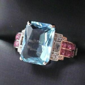 4-Ct-Princess-Aquamarine-Ring-Women-Wedding-Jewelry-Gift-14K-White-Gold-Plated