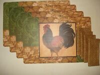 Vinyl/foam Back Placemats And Napkins Table Set- Country Rooster Decor 8 Pc Set