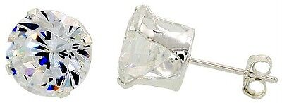 Sterling Silver Round CZ Stud Earrings New Nickel Free!