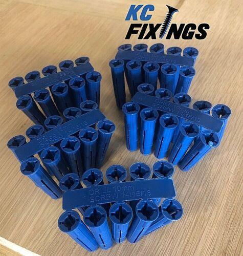 DIY 100 x Blue Wall Plugs Expansion Fixings 10mm Masonry Professional Trade