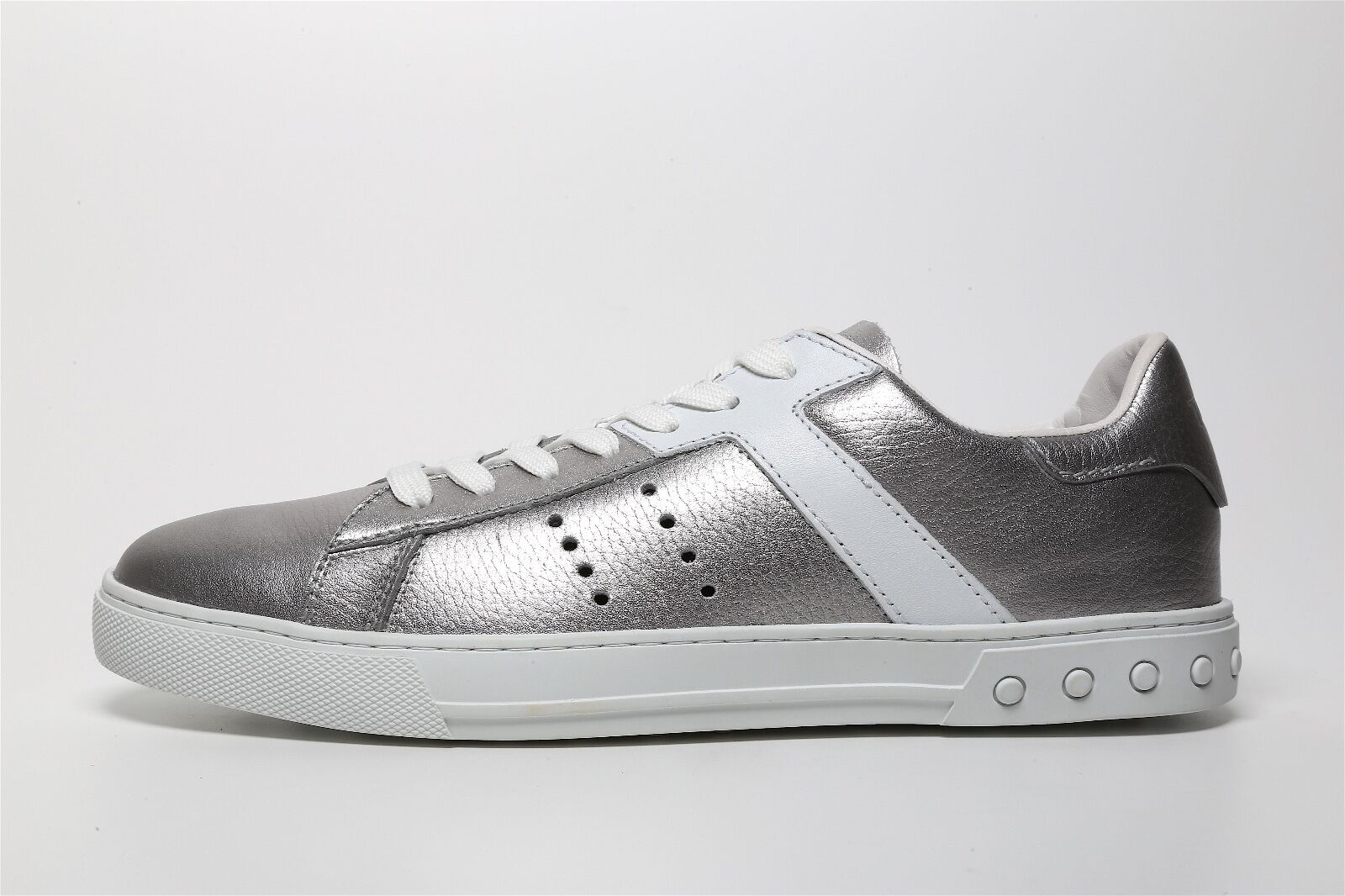 Tod's Men's Laced Silver White Low Top Sneakers 6059 Sz 8
