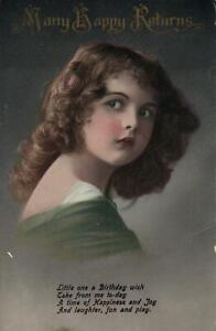 1914-VINTAGE-PRETTY-YOUNG-GIRL-BIRTHDAY-GREETINGS-POSTCARD-USED