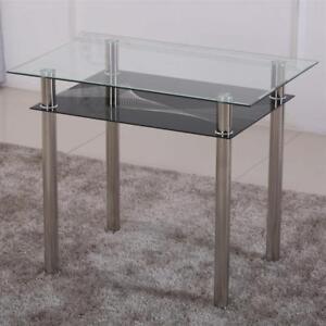 Esstisch 90x60 Schwarz Küchentisch Klar Esszimmer Tisch Chrom