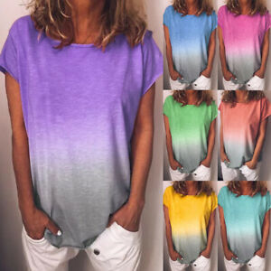 Womens-Sweatshirt-Loose-Casual-Ladies-Short-Sleeve-Tee-Blouse-T-Shirt-Ombre-Tops
