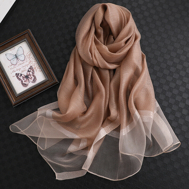 100/% Silk Oblong Scarf Brown Print #3 New With Tags