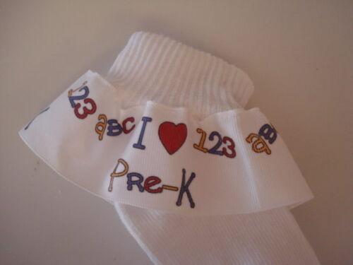 I HEART PRE-K GROSGRAIN RUFFLE RIBBON SOCKS FOR TODDLERS GIRLS SCHOOL TEACHERS