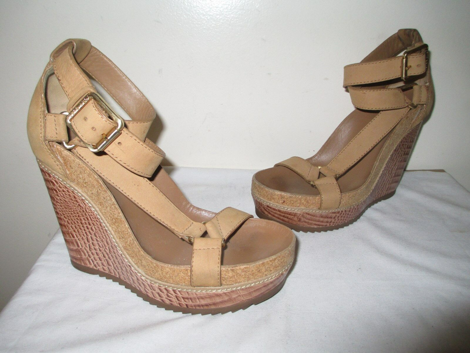 355 TORY BURCH TAN BROWN LEATHER WEDGE ANKLE STRAP SANDALS SZ 8 ½ M