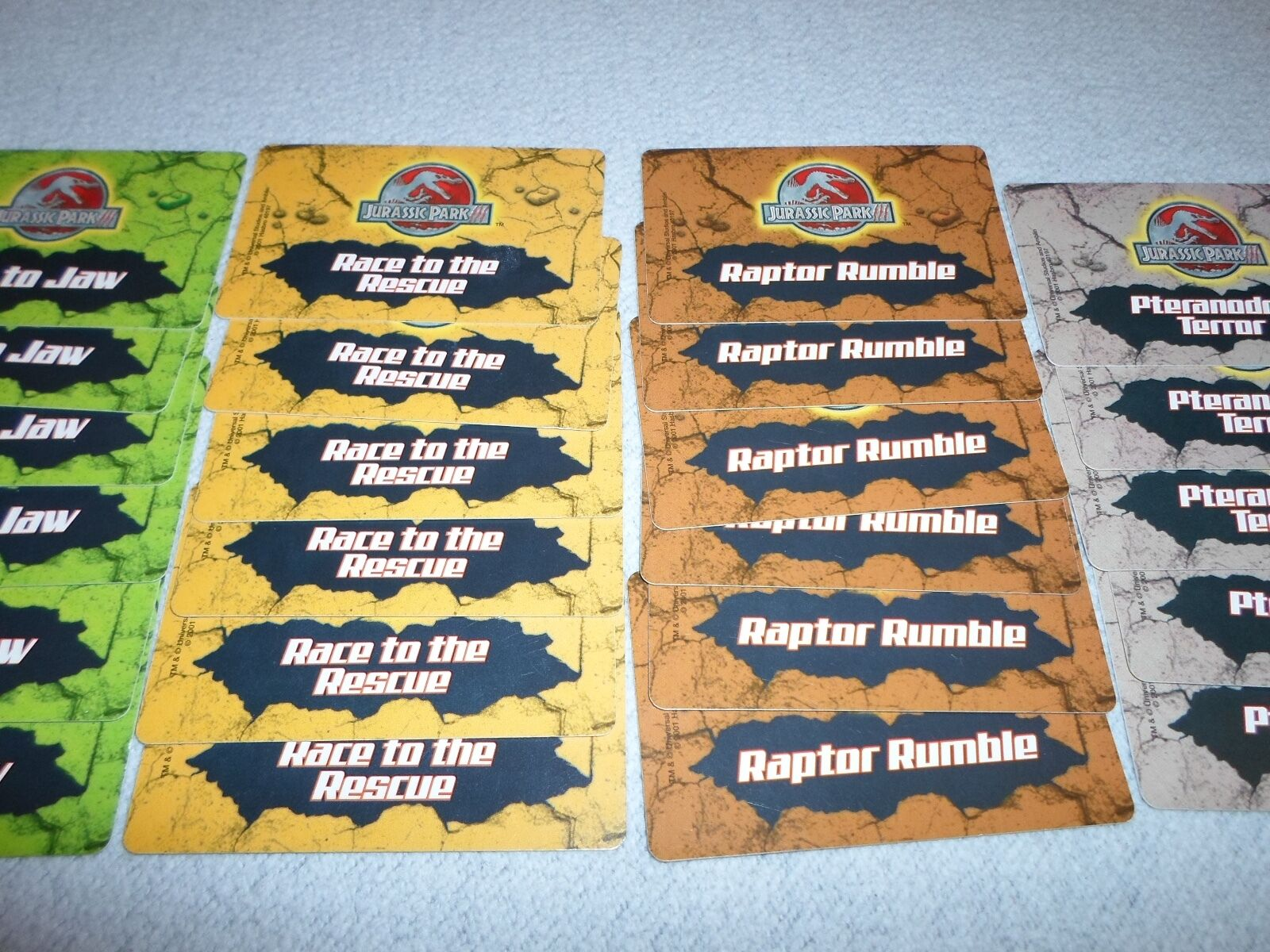 For Parts Cards Only Lot of 29 Cards Parts Jurassic Park III 3 Dinosaur Board Game Playing 34d098